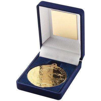 BLUE VELVET BOX+MEDAL SWIMMING TROPHY - GOLD 3.5in