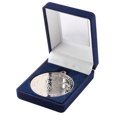 BLUE VELVET BOX+MEDAL SWIMMING TROPHY - SILVER 3.5in
