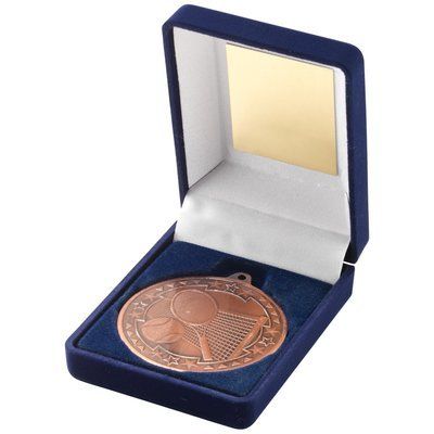 BLUE VELVET BOX+MEDAL TENNIS TROPHY - BRONZE 3.5in