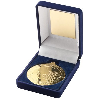 BLUE VELVET BOX+MEDAL TENNIS TROPHY - GOLD 3.5in