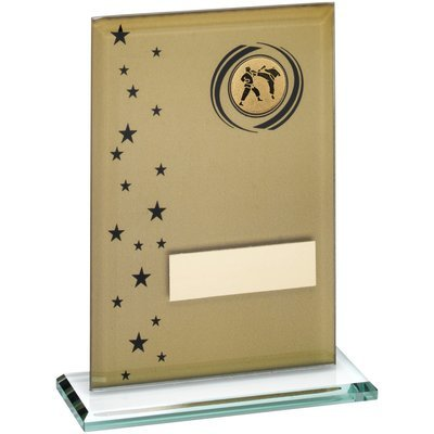 GOLD/BLACK PRINTED GLASS RECTANGLE WITH MARTIAL ARTS CENTRE