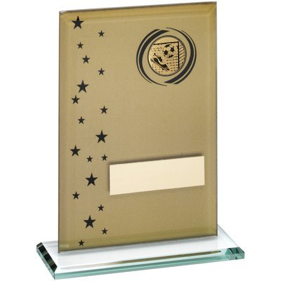 GOLD/BLACK PRINTED GLASS RECTANGLE WITH FOOTBALL INSERT