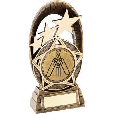 BRZ/GOLD GENERIC TRI-STAR OVAL WITH CRICKET INSERT TROPHY