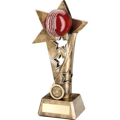 BRZ/GOLD/RED CRICKET TWISTED STAR COLUMN TROPHY