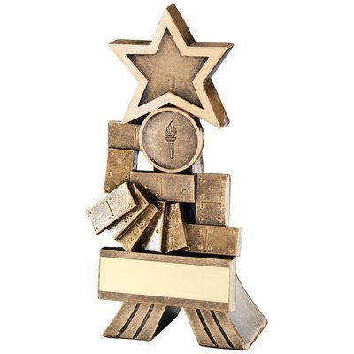 BRZ/GOLD DOMINOES SHOOTING STAR TROPHY - (1in CENTRE) 5in