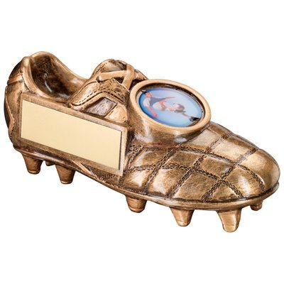 BRZ/GOLD FOOTBALL BOOT TROPHY - (1in CENTRE)