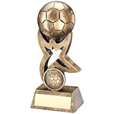 BRZ/GOLD FOOTBALL ON STAR RISER TROPHY - (1in CENTRE)