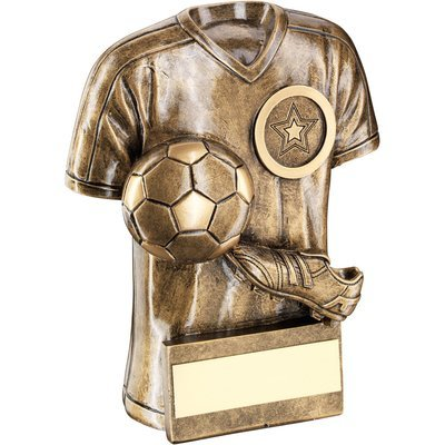 BRZ/GOLD FOOTBALL TROPHY SHIRT WITH BOOT/BALL