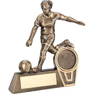 BRZ/GOLD MINI FEMALE FOOTBALL FIGURE TROPHY - (1in CENTRE)