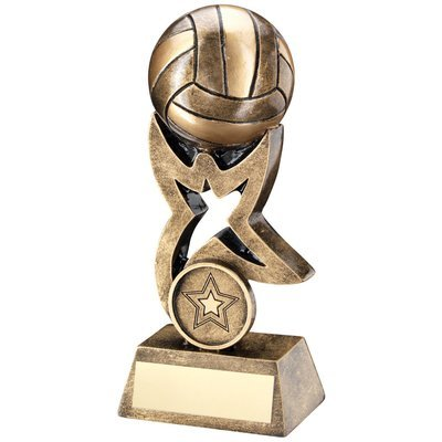 BRZ/GOLD NETBALL ON STAR TROPHY RISER TROPHY - (1in CENTRE)