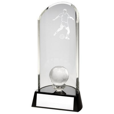 CLEAR GLASS FOOTBALL LASERED CURVE COLUMN+BALL ON BLACK BASE TROPHY