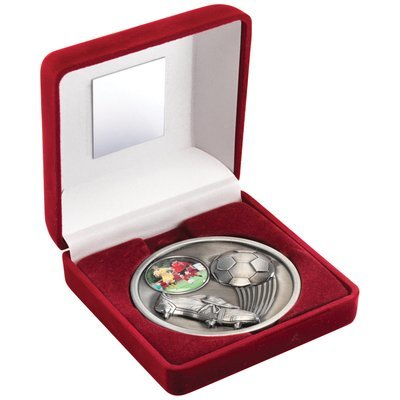 RED VELVET BOX+MEDAL FOOTBALL TROPHY - ANTIQUE SILVER (1in CENTRE) 4in