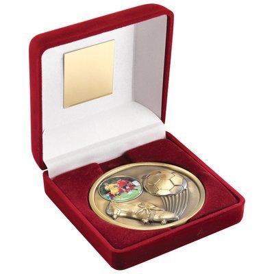 RED VELVET BOX+MEDAL FOOTBALL TROPHY - ANTIQUE GOLD (1in CENTRE) 4in