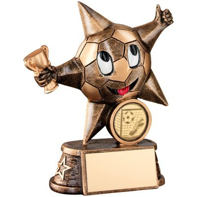 BRZ/GOLD RESIN FOOTBALL 'COMIC STAR' FIGURE TROPHY - (1in CENTRE) 4.5in