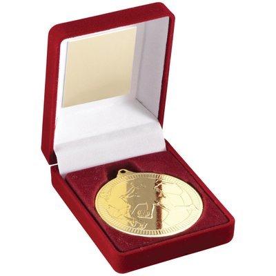 RED VELVET BOX+MEDAL FOOTBALL TROPHY - GOLD 3.5in