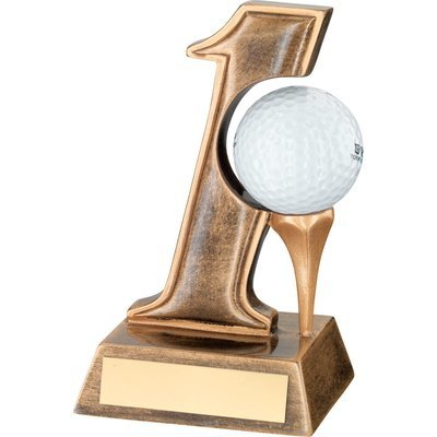 BRZ/GOLD RESIN 'HOLE IN ONE' GOLF TROPHY - 5.5in