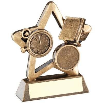 BRZ/GOLD SWIMMING MINI STAR TROPHY - (1in CENTRE) 3.75in