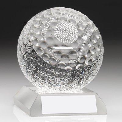 CLEAR GLASS GOLF BALL TROPHY - LONGEST DRIVE  3.75in