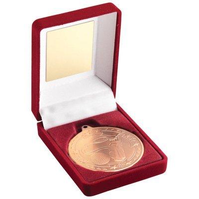 RED VELVET BOX+MEDAL GOLF TROPHY - BRONZE 3.5in