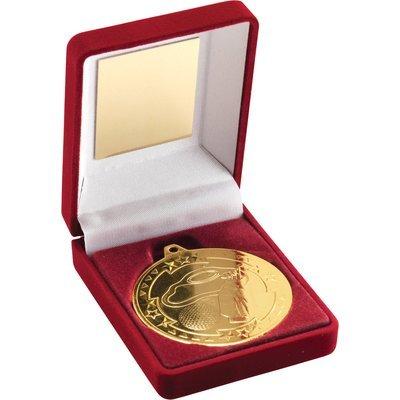 RED VELVET BOX+MEDAL GOLF TROPHY - GOLD 3.5in