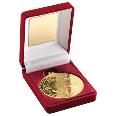 RED VELVET BOX+MEDAL MARTIAL ARTS TROPHY - GOLD 3.5in