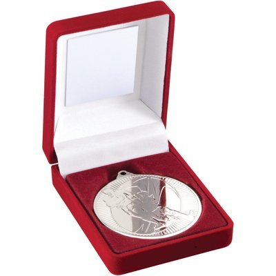 RED VELVET BOX+MEDAL RUGBY TROPHY - SILVER 3.5in