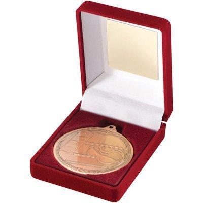 RED VELVET BOX+MEDAL SWIMMING TROPHY - BRONZE 3.5in