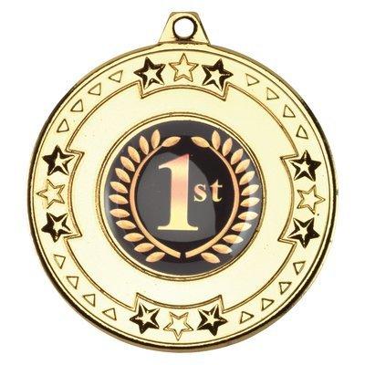 TRI STAR MEDAL 2in - GOLD (1in CENTRE)
