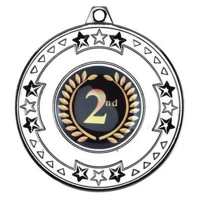 TRI STAR MEDAL 2in - SILVER (1in CENTRE)