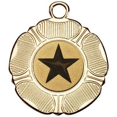 TUDOR ROSE MEDAL - GOLD (1in CENTRE) 2in