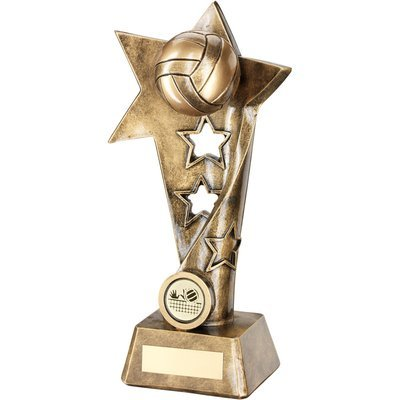 VOLLEYBALL TWISTED STAR COLUMN TROPHY BRZ/GOLD