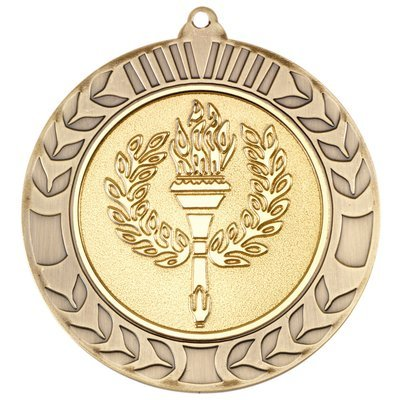 WREATH MEDAL 2.75in - ANTIQUE GOLD (2in CENTRE)