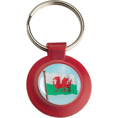 RED PLASTIC KEYRING WITH WALES FLAG INSERT - 1.5in