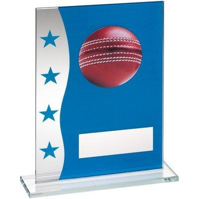 Blue/Silver Glass Cricket Award