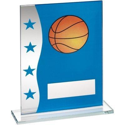 Blue/Silver Glass Basket Ball Trophy