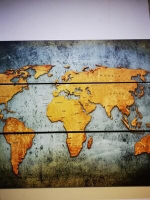 Drieluik wereld goud groen