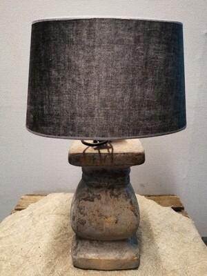 Balusterlamp grijs incl suède grijze kap
