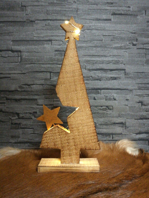 Houten led kerstboom 32cm