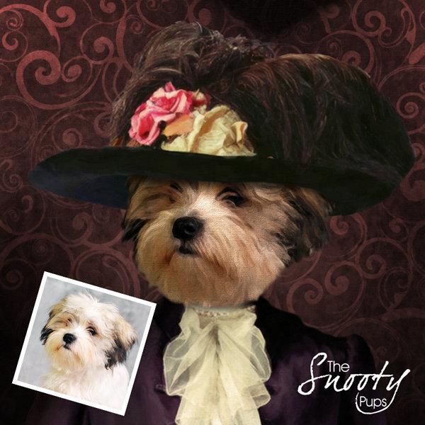 Custom dog Portrait - Victorian Lady
