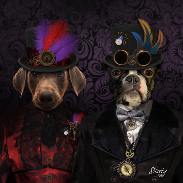 Custom Pet Portrait - Steampunk Couple