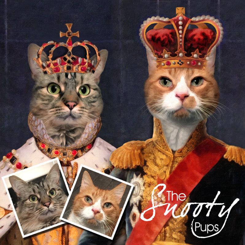 Couple Portrait Cat Portrait - King & Queen