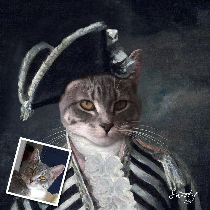 Custom Cat Portrait - Vintage