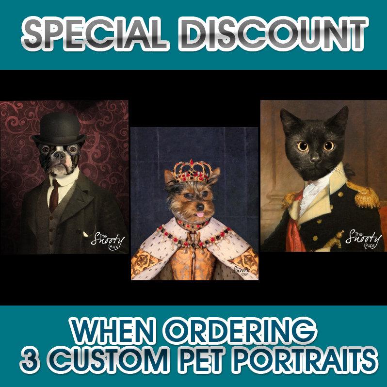 3 Custom Dog Portraits or Cat Portraits