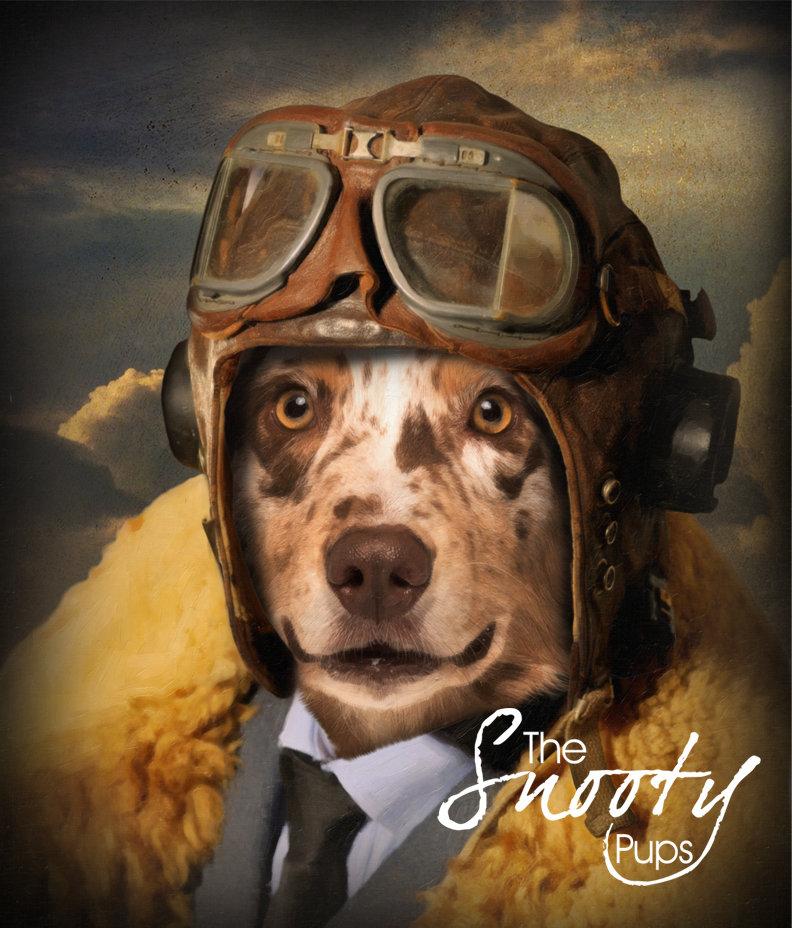 Custom Dog Portrait - Vintage Pilot