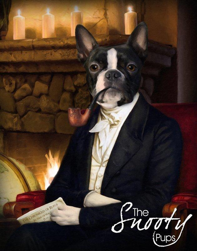 Custom Dog Portrait - Dog Smokes Pipe By Fire