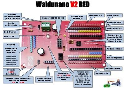 Waldunano V2 RED - A placa para todos os Projetos IOT - Não acompanha Arduino Nano Disponível nas cores  Vermelha, Preta e Branca
