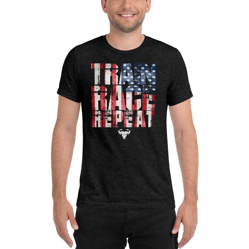 USA Train. Race. Repeat Tri-Blend Shirt