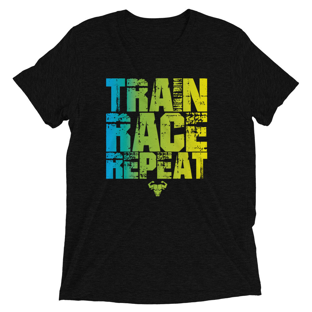 Train. Race. Repeat. Blue Gradient Tr-Blend Tee