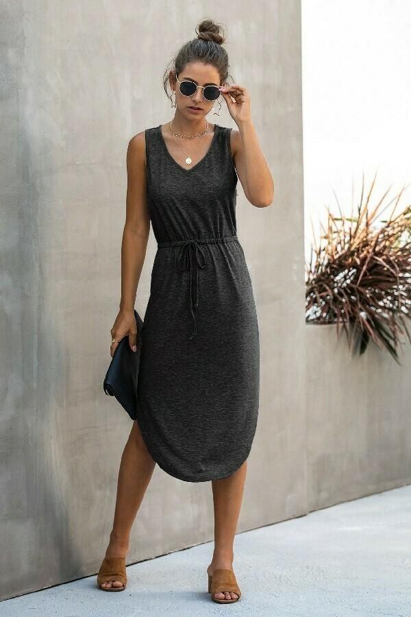 Midi Drawstring Dress ~ black