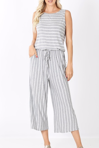 Little Crop Jumpsuit | heather grey